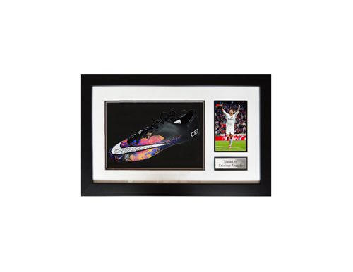 Christiano Ronaldo signed soccer boot that can be won at a fundraising auction