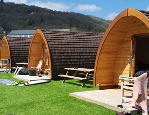 Glamping tents being used on a trip won on a fundraising auction