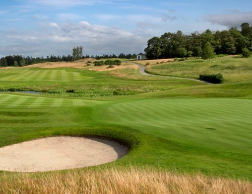 A golf course hole taken from a trip won on a fundraising auction