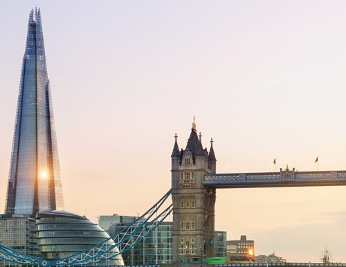 A picture of Tower Bridge and the Shard showing a trip from a fundraising auction