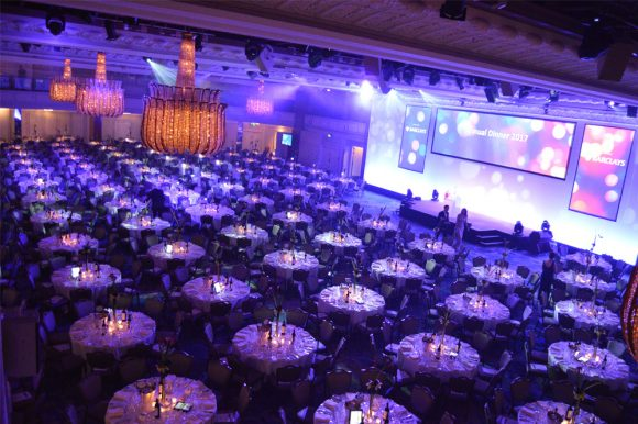 A pre event setting before a fundraising auction in a hotel